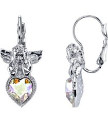 symbols of faith silver-tone crystal ab heart angel earrings