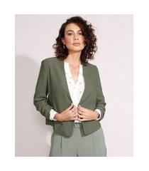 blazer curto manga 3/4 franzida verde militar