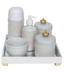 kit higiene espelho completo porcelanas, garrafa pequena e capa coroa dourado quarto bebê unissex