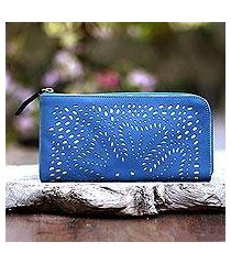 leather clutch, 'scattered stars in steel blue' (indonesia)