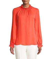 kobi halperin salene smocked silk blouse - orange onyx - size xl