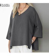 zanzea mujeres batwing casual cuello en v camisa de la blusa asimétrica tapas de gran tamaño plus -gris oscuro