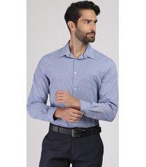 camisa masculina comfort estampada xadrez com bolso manga longa azul