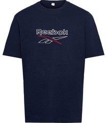 cl f vector tee t-shirts short-sleeved blå reebok classics