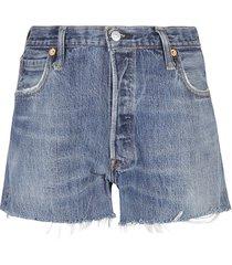 re/done denim rip cuff detail shorts