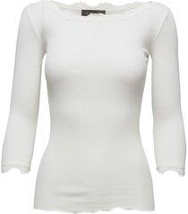 silk t-shirt boat neck regular w/vi t-shirts & tops long-sleeved wit rosemunde