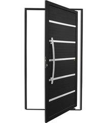 porta pivotante esquerda com lambri e puxador em alumínio premium 210x120cm preto