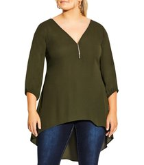 plus size women's city chic sexy zip front high/low tunic, size small - green