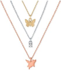 "rachel rachel roy tri-tone 3-pc. set pendant necklaces, 16"" + 2"" extender"