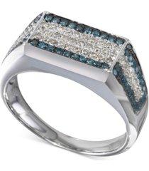 white & blue diamond square cluster matrix ring (3/4 ct. t.w.) in sterling silver