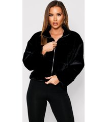 faux fur quilted zip front jacket, black