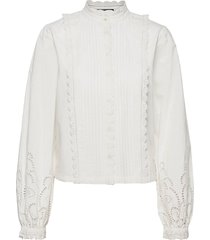 crispy cotton top with broderie anglaise details blouse lange mouwen wit scotch & soda