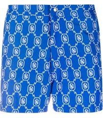 neil barrett short de natação com estampa de logo - azul