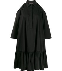 talbot runhof ruffled hem shirt dress - black