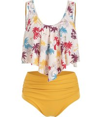 flounce coconut palm ruched hawaii tankini swimsuit