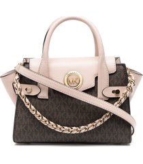 michael michael kors carmen leather belted satchel - brown