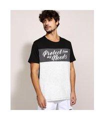 """camiseta masculina protect"""" com recortes manga curta gola careca preta"""""""