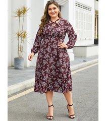 vestido de manga larga con estampado floral al azar rojo talla grande de yoins