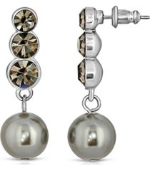 2028 silver-tone crystal and gray imitation pearl drop earrings