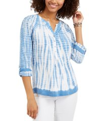 style & co tie-dye cotton split-neck top, created for macy's