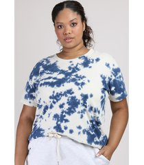 t-shirt feminina plus size mindset estampada tie dye alongada manga curta decote redondo azul marinho