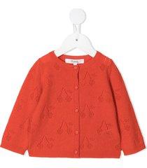 bonpoint intarsia cherry cashmere cardigan - orange