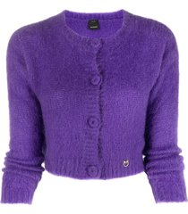 pinko cropped knit cardigan - purple
