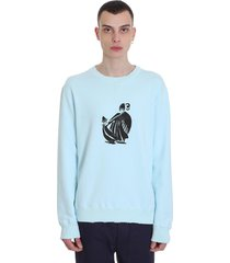 sweatshirt in cyan cotton