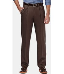 haggar men's premium no iron khaki classic fit pleat hidden expandable waist pants