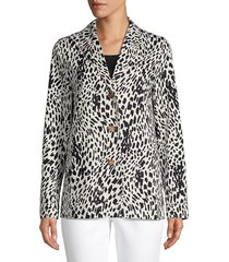 lafayette 148 new york women's coleman printed button jacket - black white - size l