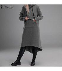 zanzea mujeres de manga larga de gran tamaño casual con cremallera larga pocket hoodie cardigans sweater -gris claro