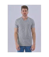 camiseta calvin klein gola v flamê mescla cinza