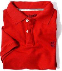 camiseta tipo polo tela pique bordado en frente jack suplies para hombre - rojo