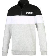 fleece sweater met halve rits voor heren, zwart/grijs/wit, maat xl | puma