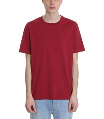acne studios everest t-shirt in bordeaux cotton