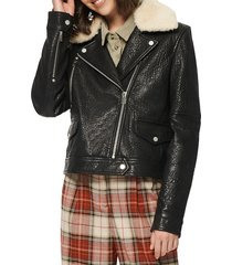 marc new york andrew marc women's shearling-trim leather moto jacket - black - size l