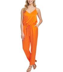 dkny drawstring-waist sleeveless jumpsuit
