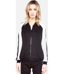 ashton zip up jacket - l black/white