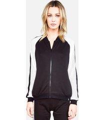 ashton zip up jacket - l black/white