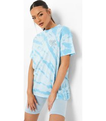 oversized tie dye t-shirt met borstopdruk, blue