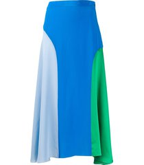 chinti and parker colour-blocked silk skirt - blue