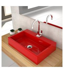 cuba de apoio p/banheiro compace florenza q550w retangular vermelha