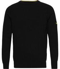 b.intl cotton crw neck stickad tröja m. rund krage svart barbour