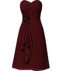 kivary chiffon short knee length floral sweetheart corset beach bridesmaid dress