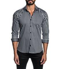 men's jared lang regular fit stripe button-up shirt, size medium - white
