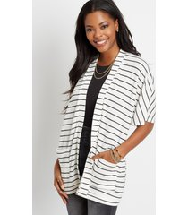 maurices womens stripe waffle knit smocked back cardigan white