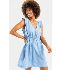 beccah ruffled mini dress - blue