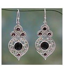 onyx and garnet dangle earrings, 'delhi hope' (india)