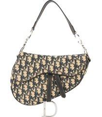christian dior pre-owned trotter saddle handbag - neutrals