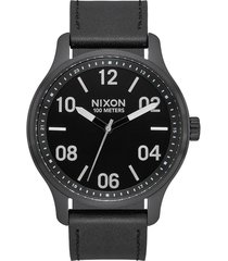 nixon patrol leather strap watch, 42mm in black/silver/black at nordstrom